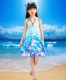 Dazzling Dolls Floral Printed Smocked Boho Spaghetti Dress - Blue