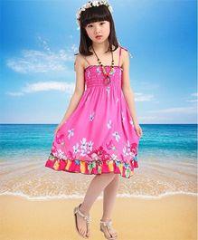 Dazzling Dolls Pretty Flower Design Smocked Boho Spaghetti Dress - Pink