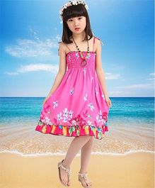 Dazzling Dolls Pretty Flower Design Smocked Boho Spaghetti Dress - Pink