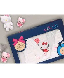 Knotty Kids Cat Print Premium Gift Set - White