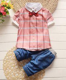 Pre Order - Adores Checks Gentlemen Collared Shirt & Pants - Pink