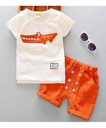 Pre Order - Adores Crocodile Print Shirt & Shorts - Orange