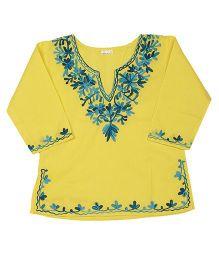 Pikaboo Full Sleeves Kurti With Kashida Embroidery - Yellow Blue