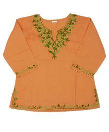 Pikaboo Full Sleeves Kurti With Kashida Embroidery - Orange Green