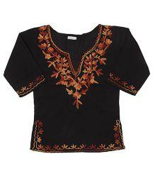 Pikaboo Full Sleeves Kurti With Kashida Embroidery - Black Orange