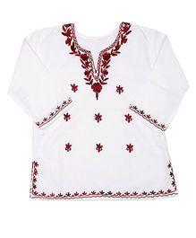 Pikaboo Full Sleeves Kurti With Kashida Embroidery - White Maroon