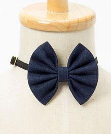 Brown Bows Denim Fan Bow - Blue