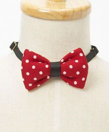Brown Bows Polka Print Bow - Red & White
