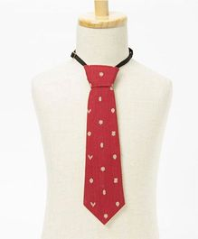 Brown Bows Autumn Printed Tie Large - Red
