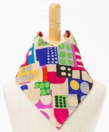 Brown Bows Bandana Bib Abstract Print - Multicolor