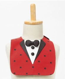 Brown Bows Bib Bow Applique - Red