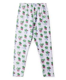 Cucu Fun Full Length Leggings Cactus Print - White Green