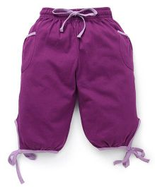 Cucu Fun Capri With Tie Up Hem - Dark Purple