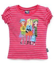 Cucu Fun Half Sleeves Striped Tee With Diva's Print - Dark Pink