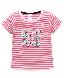 Cucu Fun Half Sleeves Tee With Number 50 Patch - Pink & White