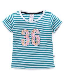 Cucu Fun Half Sleeves Tee With Number 36 Patch - Green & White