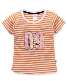 Cucu Fun Half Sleeves Tee With Number 09 Patch - Orange & White