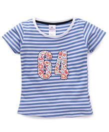 Cucu Fun Half Sleeves Tee With Number 64 Patch - Blue & White