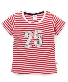 Cucu Fun Half Sleeves Tee With Number 25 Patch - Red & White