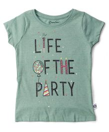 Cucu Fun Half Sleeves Top Text Print - Light Green