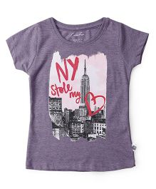 Cucu Fun Half Sleeves Top NY Print  - Grey