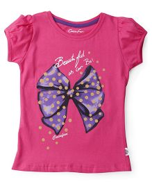 Cucu Fun Short Sleeves Top Bow Print - Pink