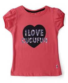 Cucu Fun Short Sleeves Top Text Print - Pink