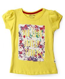 Cucu Fun Short Sleeves Top Text Print - Yellow