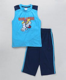 Cucu Fun Sleeveless Set With Rugby Print - Blue