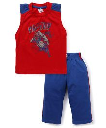 Cucu Fun Sleeveless T-Shirt And Track Pant Set Captain Gorilla Print - Red And Blue