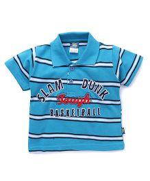 Cucu Fun Half Sleeves Polo Neck Striped Tee - Blue