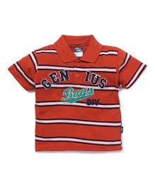 Cucu Fun Half Sleeves Polo Neck Striped Tee - Dark Orange