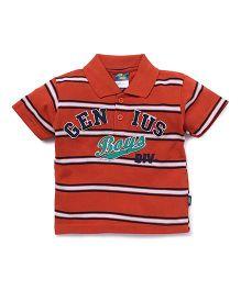 Cucu Fun Half Sleeves Stripe T-Shirt Genius Patch - Orange