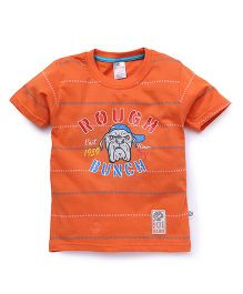 Cucu Fun Half Sleeves Tee Rough Bunch Print - Orange