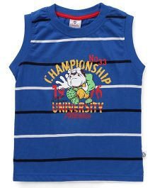 Cucu Fun Sleeveless Striped Tee With Print - Blue
