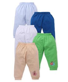 Chhota Bheem Lounge Pants Pack Of 5 - Cream Green White Blue