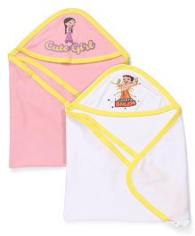 Chhota Bheem Hooded Towel & Wrappers Set Of 2 - White & Pink