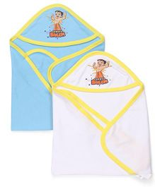Chhota Bheem Hooded Towel & Wrappers Set Of 2 - Blue & White