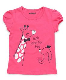 E-Todzz Short Sleeves Tee With High Time For Tea Print - Pink