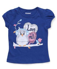 E-Todzz Short Sleeves Tee With Owl Love Me Print - Royal Blue