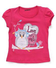 E-Todzz Short Sleeves Tee With Owl Love Me Print - Dark Pink