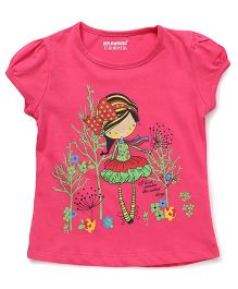 E-Todzz Short Sleeves Girl With Bow Print Tee - Pink