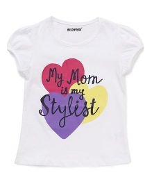 E-Todzz Short Sleeves Tee With My Mom Is My Stylist Print  - White