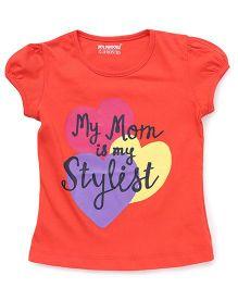 E-Todzz Short Sleeves Tee With My Mom Is My Stylist Print  - Orange