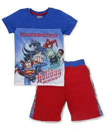 Eteenz Half Sleeves T-Shirt And Shorts Superman Print - Royal Blue Red