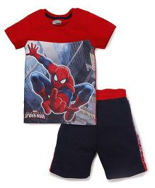 Eteenz Half Sleeves T-Shirt And Shorts Spider Man Print - Red Navy