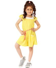 Dress My Angel Jumpsuit With Styling Belt - Yellow