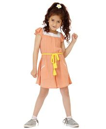 Dress My Angel Jumpsuit With Styling Belt - Peach