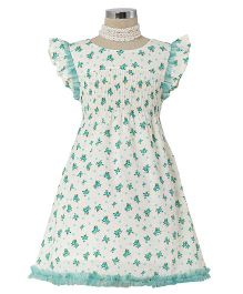 Dress My Angel Timeless Flower Smocked Dress - Blue