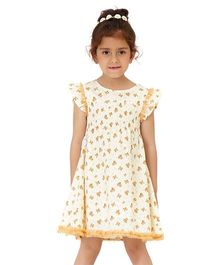 Dress My Angel Timeless Flower Smocked Dress - Orange